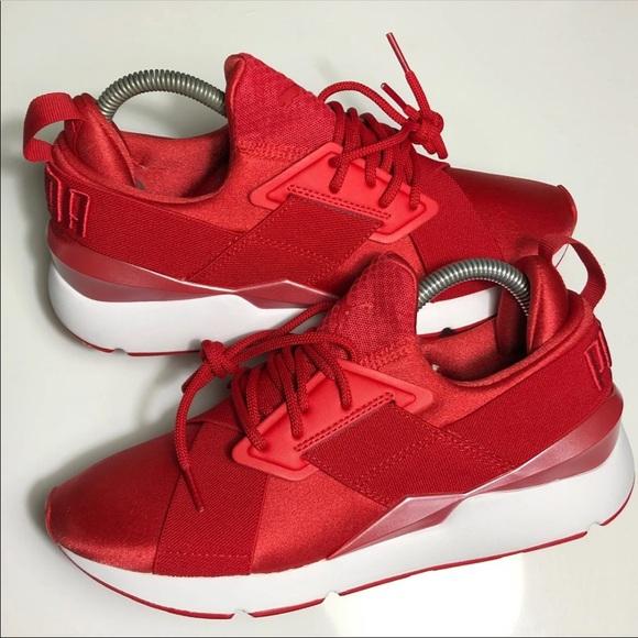 Puma Shoes | Womens Puma Muse Satin Red